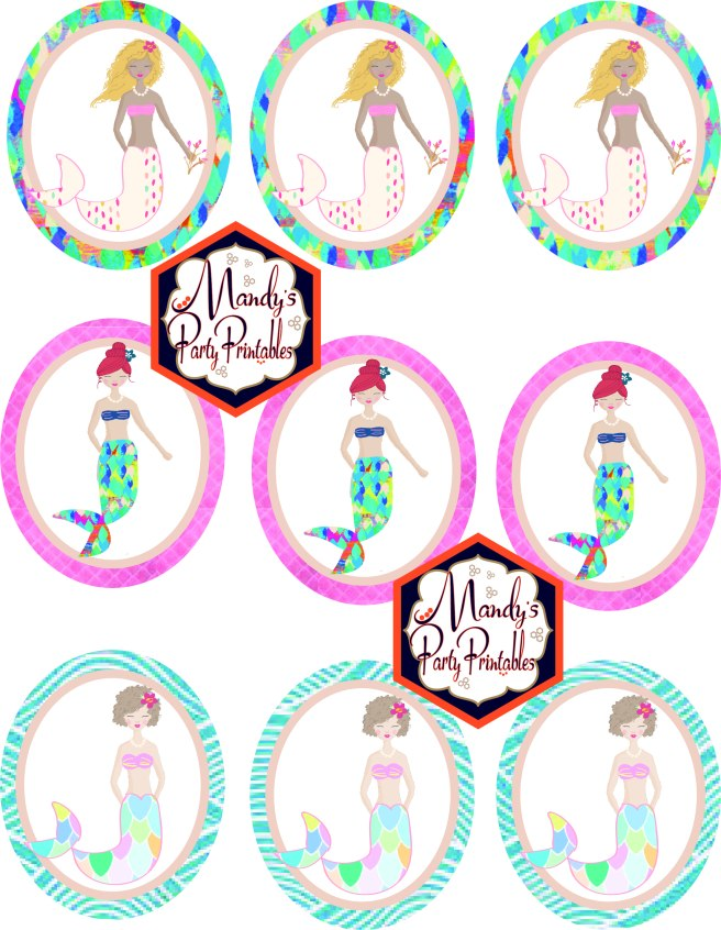 Free Mermaid Birthday Party Printables Mermaid Cupcake Toppers via Mandy's Party Printables