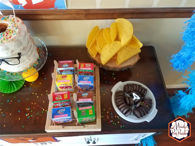 Oreos in Wheel of Mythicality serving tray from Good Mythical Morning Inspired Birthday Party via Mandy's Party Printables