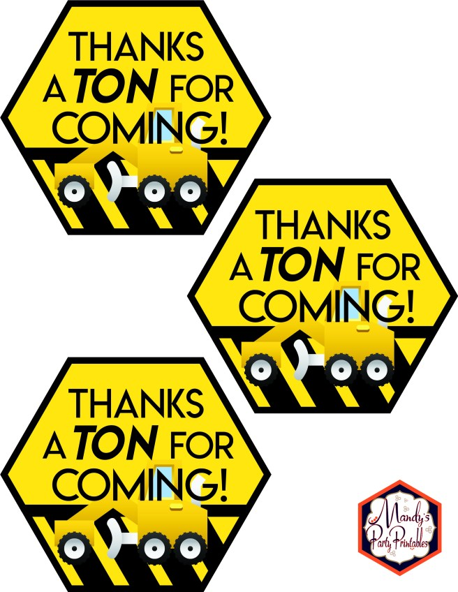 Thank you tags from Construction Birthday Party Printables via Mandy's Party Printables