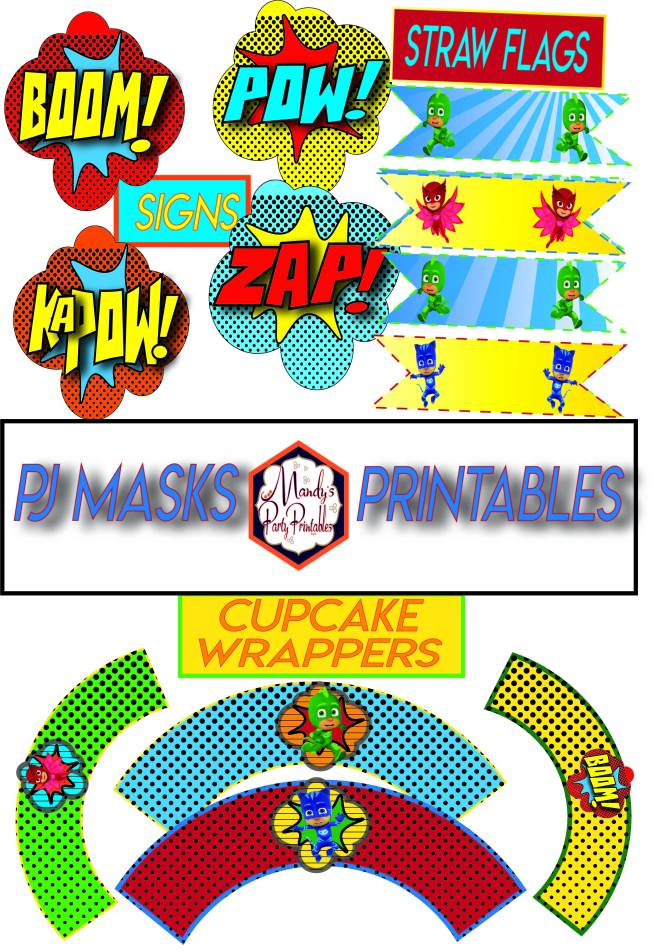 Free PJ Masks Party Printables Round 2 via Mandy's Party Printables