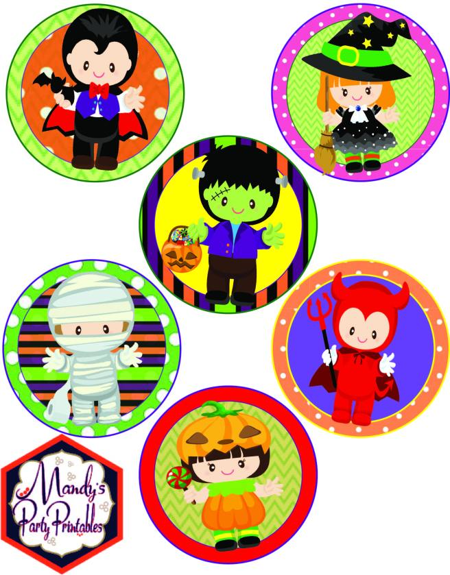 Cupcake Toppers from Halloween Costume Party Printables via Mandy's Party Printables