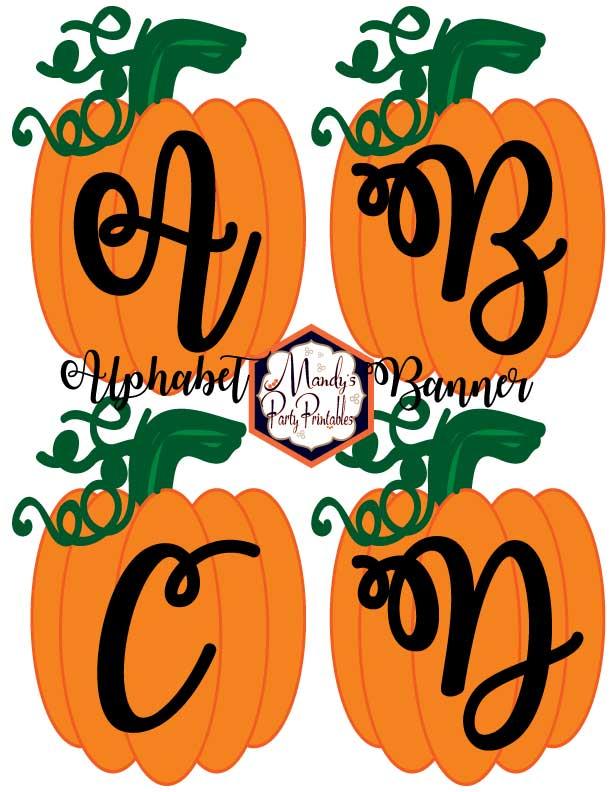free printable pumpkin alphabet banner template via mandys party printables