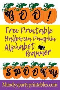 Free Customizable DIY Pumpkin Alphabet Halloween Banner via Mandy's Party Printables