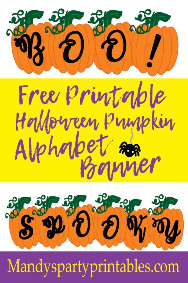 Free Printable Pumpkin Halloween Alphabet Banner via Mandy's Party Printables