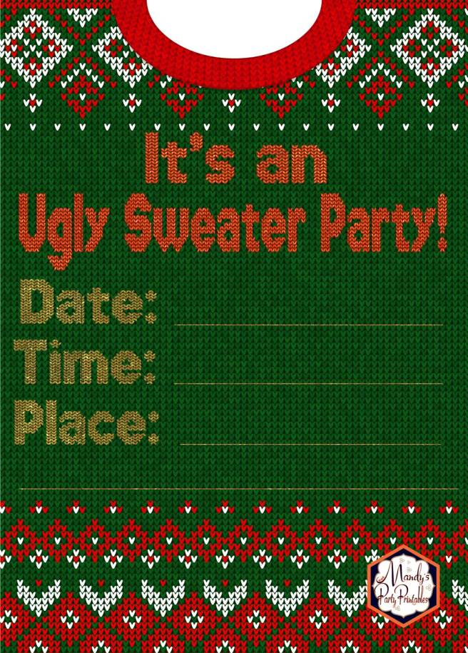 Invitation from Ugly Sweater Christmas Party Printables via Mandy's Party Printables