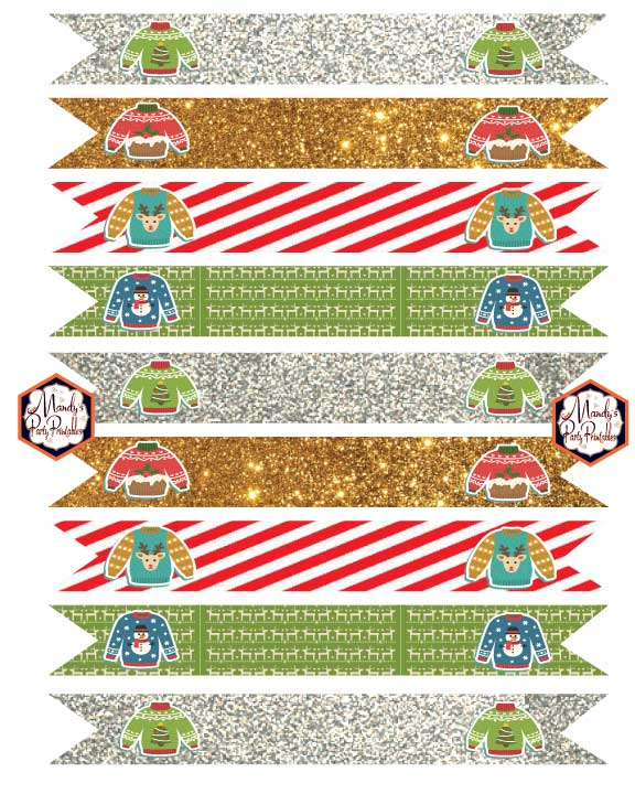 Drink Straws from Ugly Sweater Christmas Party Printables via Mandy's Party Printables