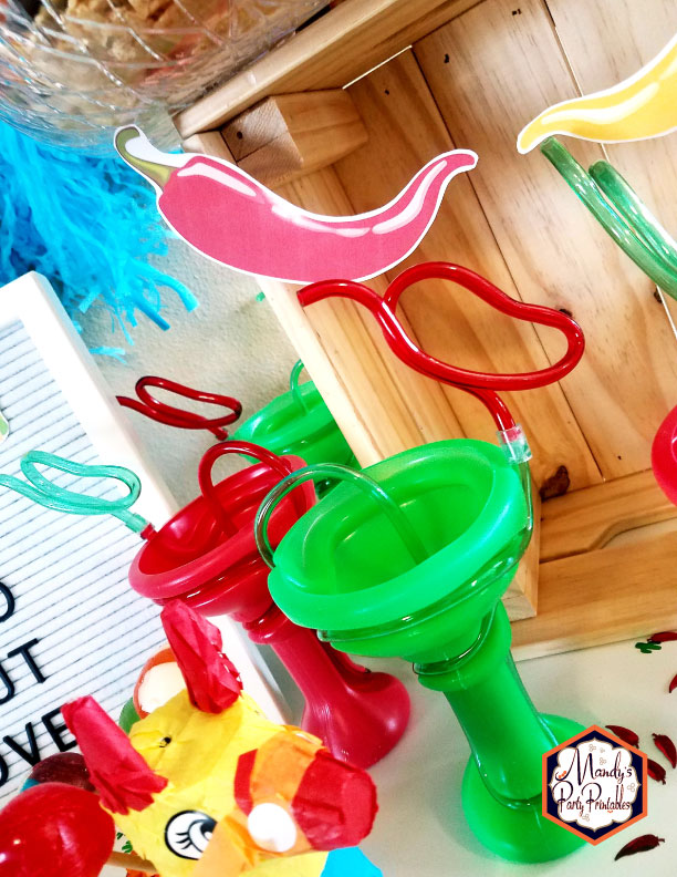 Pepper straw cups from a Taco Bout Love Valentine Taco Party | Mandy's Party Printables #valentineparty #tacoparty #tacoboutlove #ilovetacos #MPP #fiesta