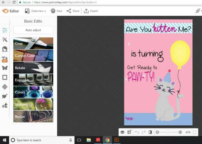 PicMonkey working board from the website, with an editable kitty printable ready to be personalized | Mandys Party Printables