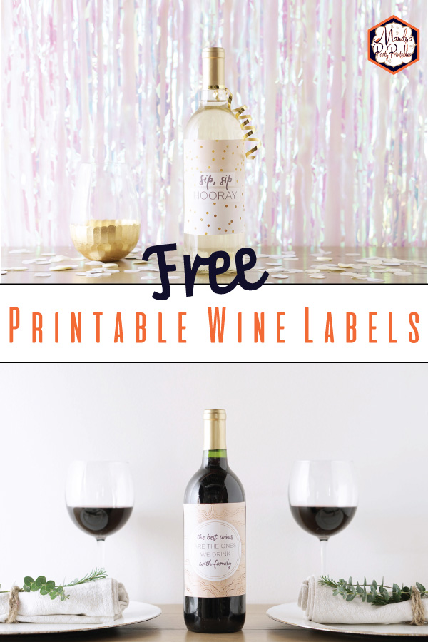 collage of free diy printable wine bottle labels via mandys party printables