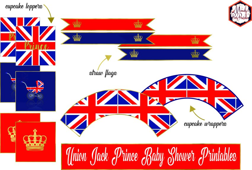 Prince Union Jack Baby Shower Printables