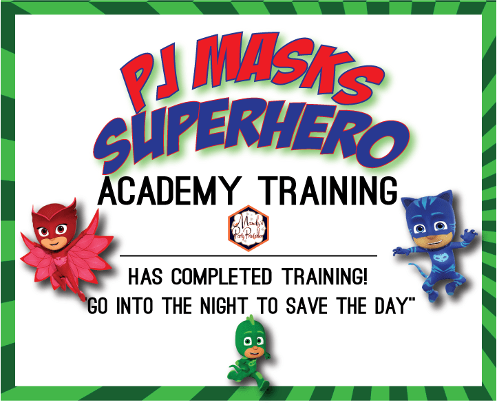 graphic about Superhero Certificate Printable named PJ Masks Performing exercises Certification and Straw Tags