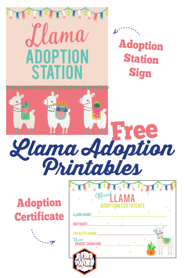 picture relating to Printable Adoption Certificate named Absolutely free Llama Adoption Celebration Printables