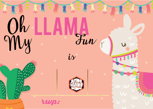 photograph relating to Llama Printable titled Editable Llama Birthday Social gathering Invitation