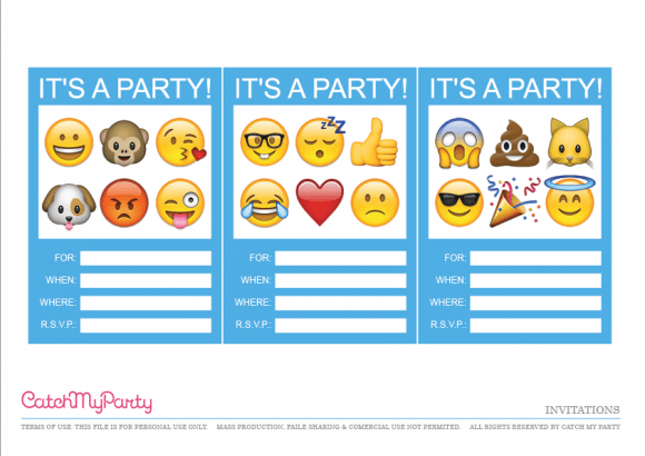 graphic about Printable Party Invite identify Printable Emoji Bash Invites