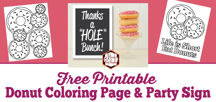 donut coloring pages and party sign