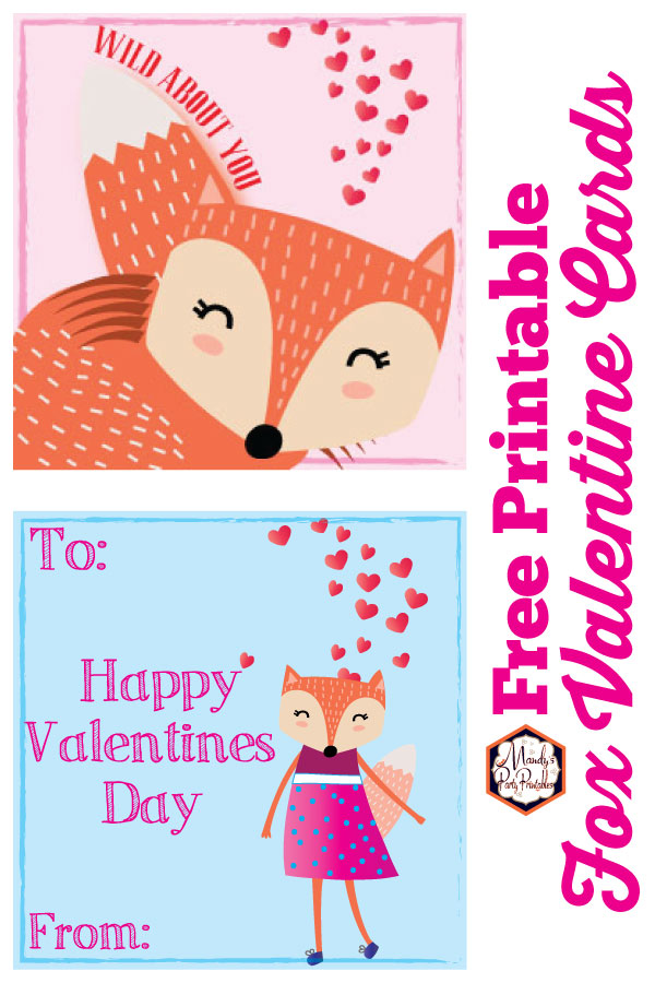 photo about Free Printable Valentine Cards identified as Fox Valentines Playing cards