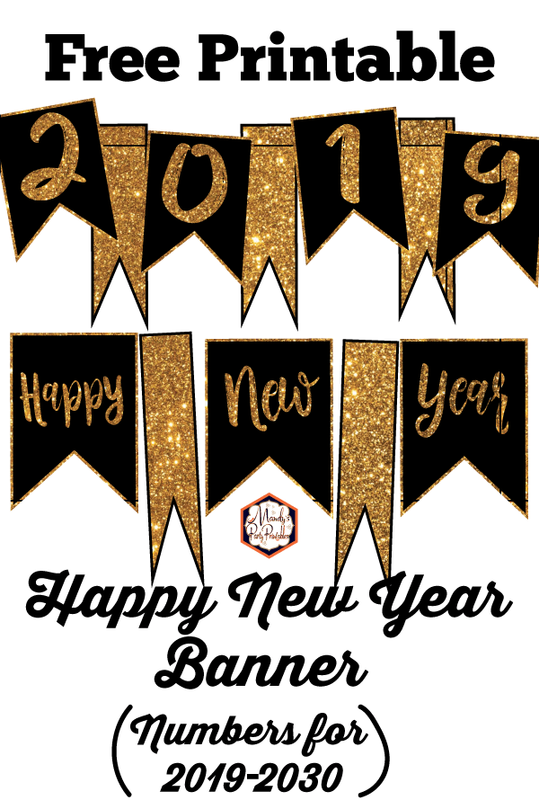 photograph relating to Happy New Years Banner Printable named Joyful Contemporary 12 months Banner Customizable