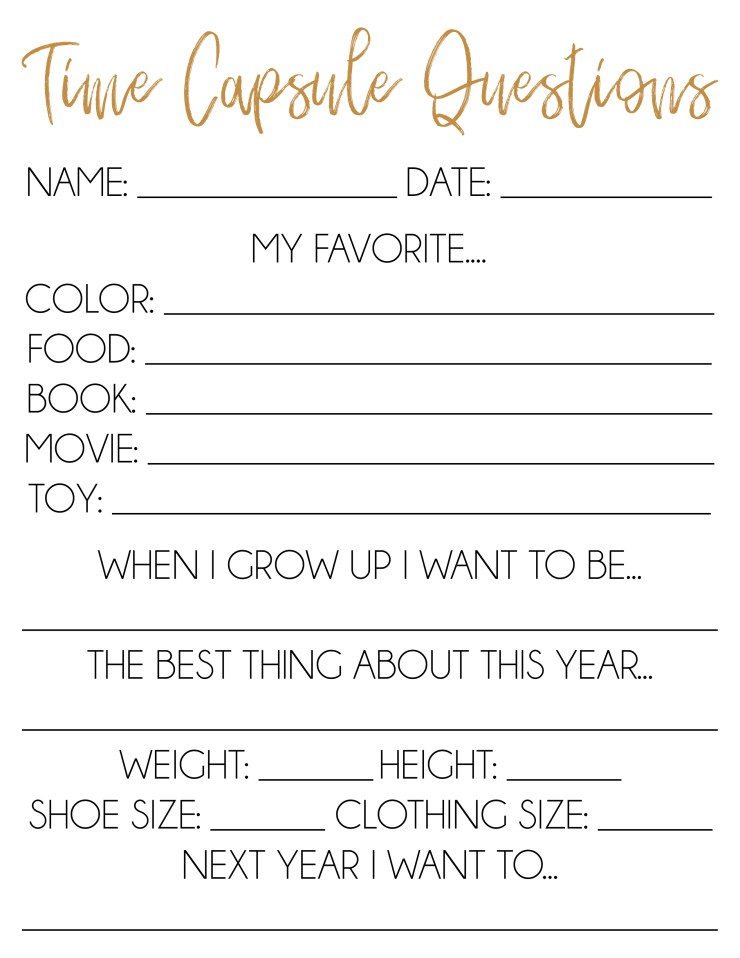 photo relating to New Year's Worksheets Printable identify No cost Printable Year Capsule Guidelines