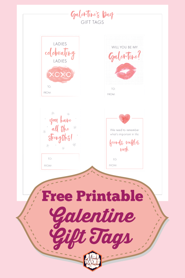 image relating to Party Favor Tags Free Printable named Galentines Working day Printable Reward Tags No cost Printable