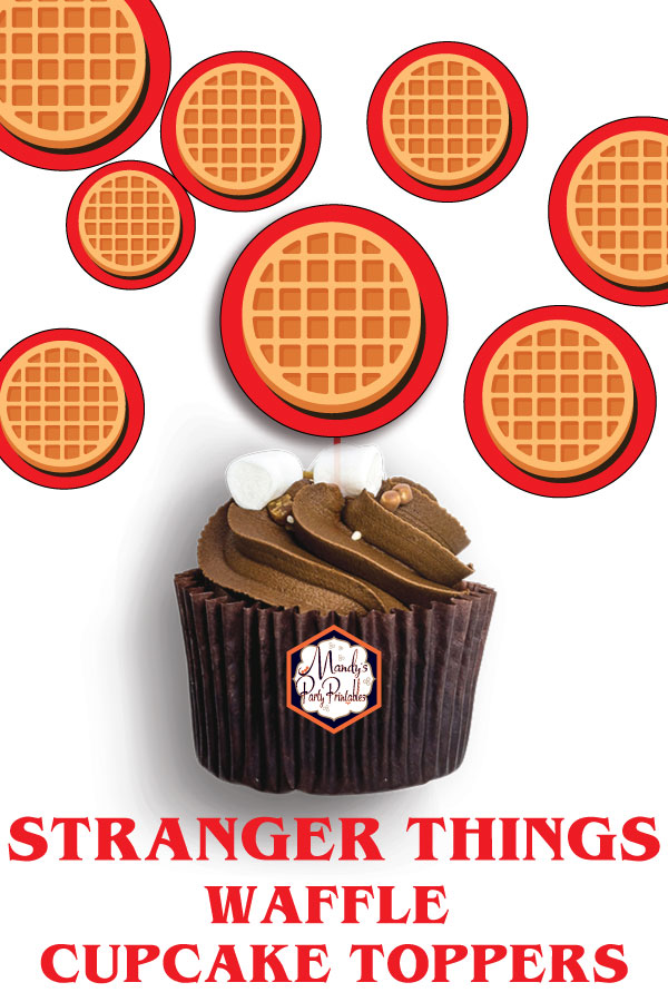 photo regarding Cupcake Printable called Stranger Factors Waffle Cupcake Topper Printables