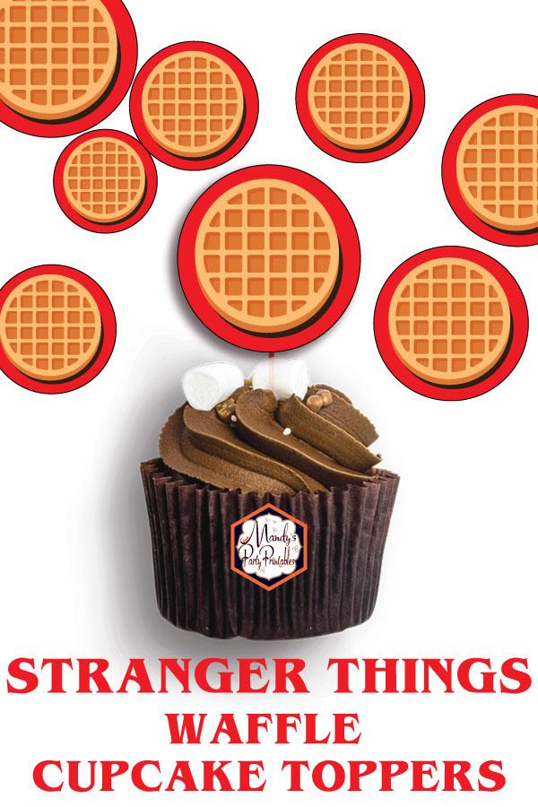 photo regarding Cupcake Printable called Stranger Factors Waffle Cupcake Topper Printables