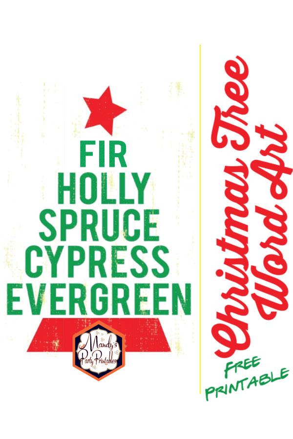 photograph regarding Free Printable Christmas Art titled Xmas Tree Term Artwork No cost Printable