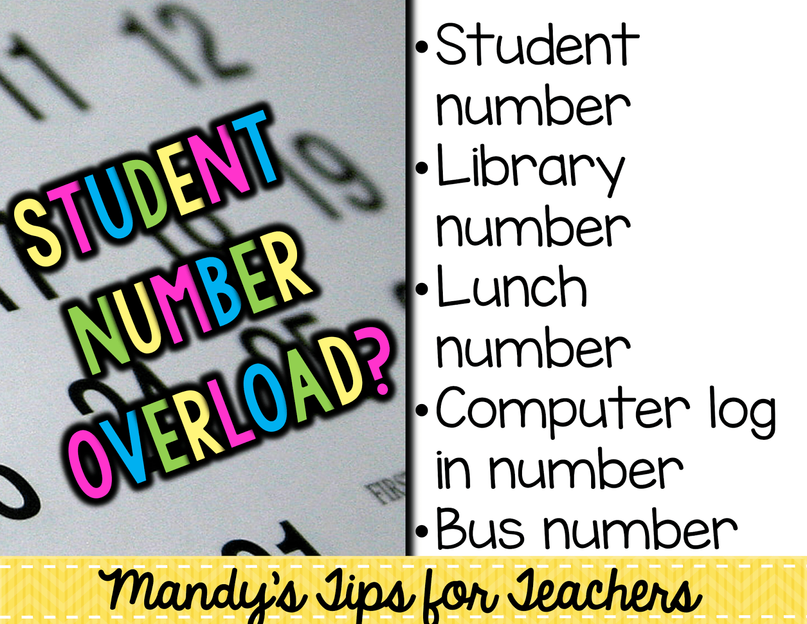 Bright Idea with Students ID Numbers  Mandys Tips for