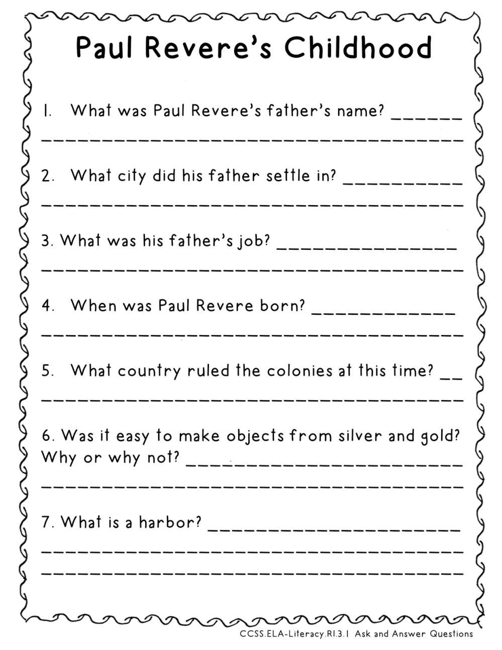 medium resolution of Paul Revere (Third Grade GA Heroes) Resources {FREEBIE} – Mandy's Tips for  Teachers