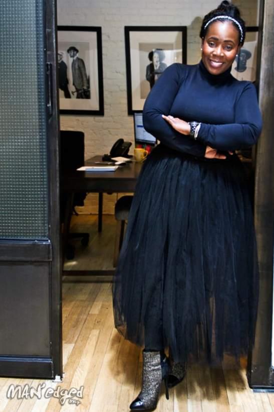 Men's fashion expert Sharifa Murdock inside of her Liberty Fairs office.