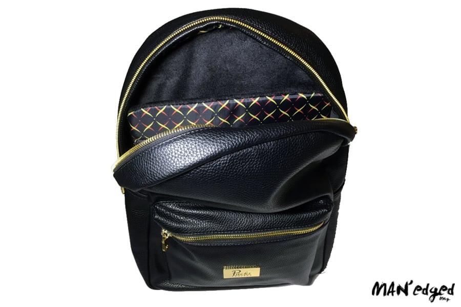 black men's backpack bag opened with inside pattern showing