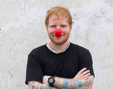 Ed Sheeran posts with Red Nose for Red Nose Day