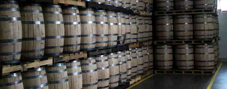 Whiskey and bourbon barrels at Bulleit's new distillery in Kentucky