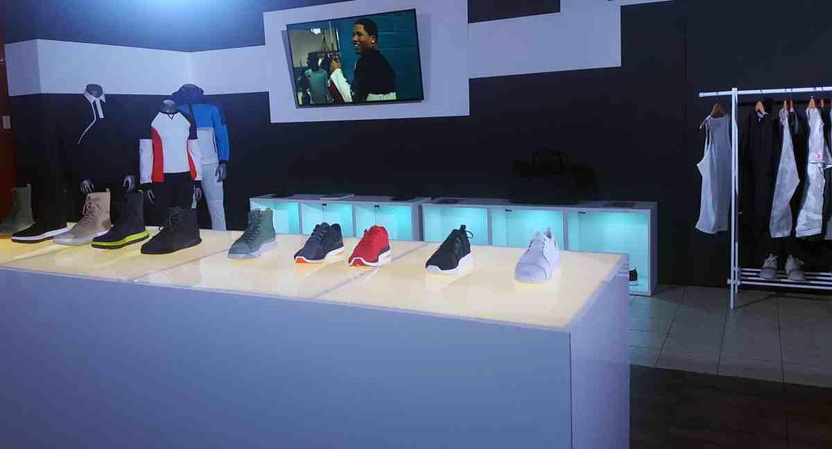 Mens basketball shoes and clothing rack at NBA Draft Combine