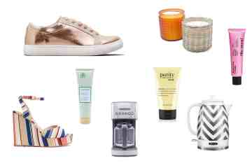 MAN'edged Magazine Mother's Day Best Gift Ideas featuring gold shoes, women's wedge, coffee pot, sneaker, tea kettle, and more.