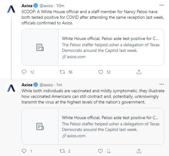 La presidenta de Estados Unidos, Pelosi, y un funcionario de la Casa Blanca dan positivo por Covid