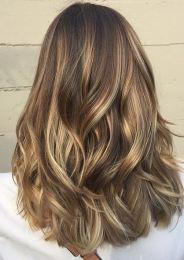 hair color idea - light brunette balayage highlights