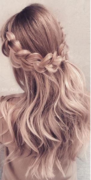 halo crown braid and waves