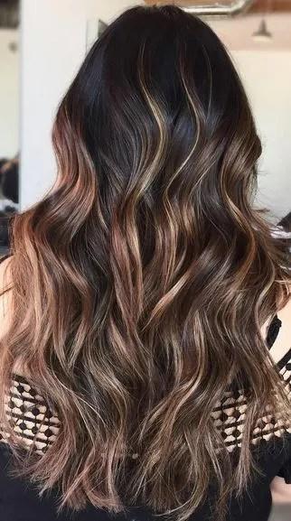 dark chocolate brunette balayage beauty