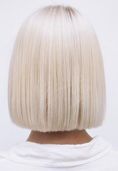 flawless platinum blonde bob