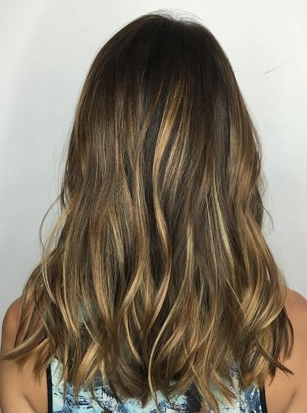 softly sunkissed brunette highlights
