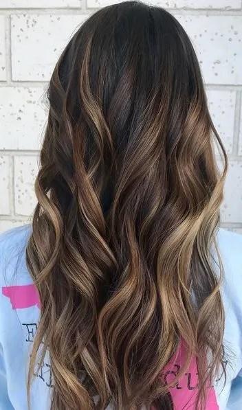 subtle caramel brunette highlights