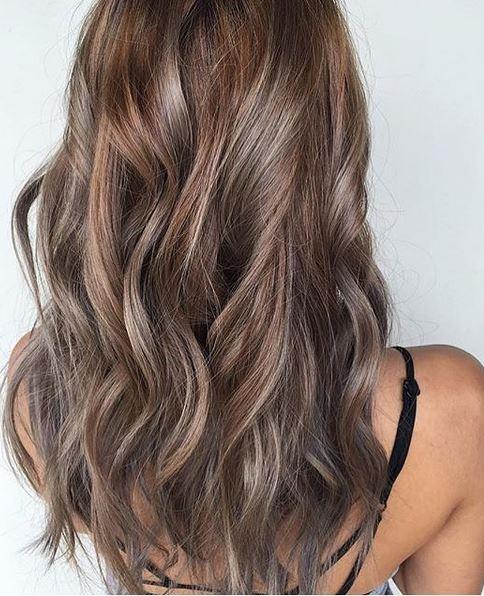 Hair Color Idea Beige And Ash Brunette Highlights Mane