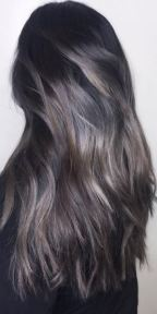 silver and dark brunette hair color