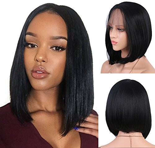 Andria Hair Bob Lace Front Wigs for Black Women Long Bob Synthetic Lace Wig  Layered Straight Wig Heat Resistant Short Hair Wig (14 Inch   1 B Color) b5fdd75ff9