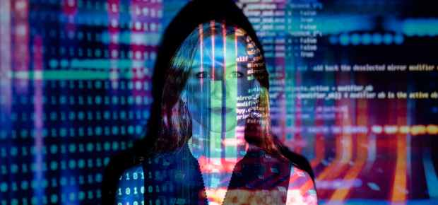 photo of code projected over woman