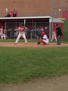 NIck Tuozzola star catcher during Foran's last home game against Hamden