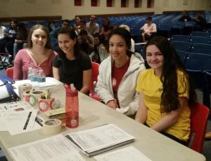 Alyssa, Ashley, Madison, and Alexa help out with today's blood drive
