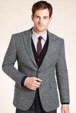 M&S   Sartorial Pure Wool Herringbone Worsted Jacket   £99