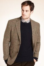 M&S | Sartorial Pure Wool Large Checked 2 Button Worsted Jacket | £129