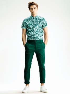 H&M Summer 2013 Collection Lookbook - Green Shirt and Trousers